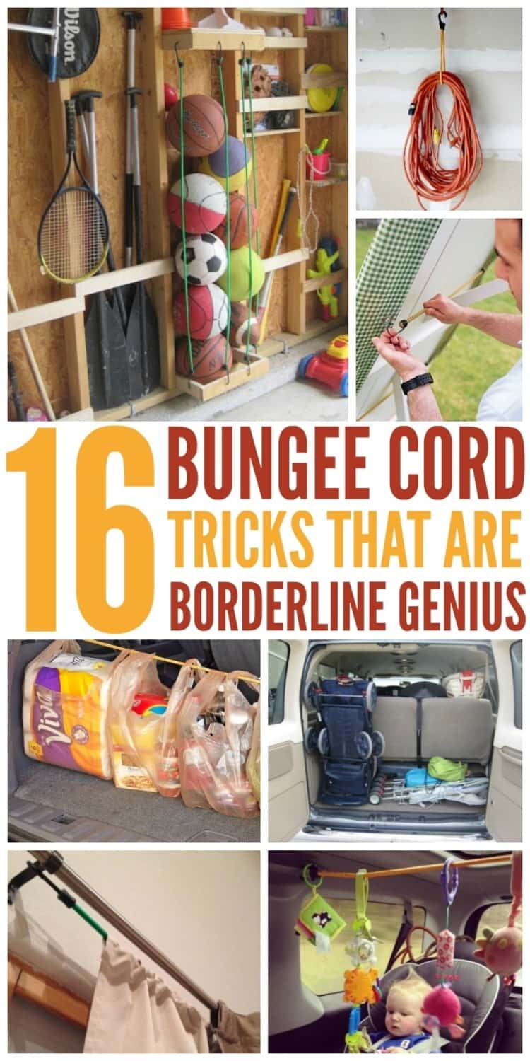 7-photo collage of 16 BUNGEE CORD TRICKS THAT ARE BORDERLINE GENIUS - garage organization in between the studs, hanging extension cords, fastening tablecloth, organizing car trunk by holding up stroller in place, toddler activity center for road trips, hanging drapes , and shopping hung in car trunk