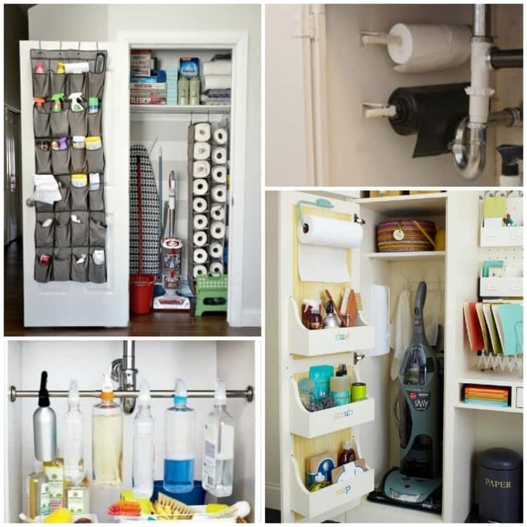 Tips to organize cleaning supplies; collage of shoe holders, dowels, towel rod for spray bottles, and door-mounted caddies