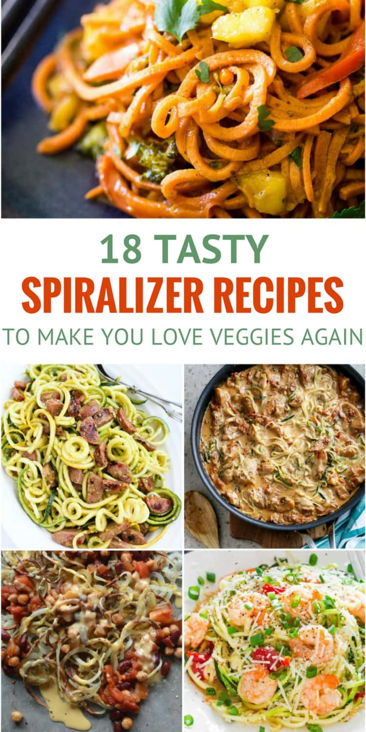 5-photo collage of various recipes titled 18 TASTY SPIRALIZER RECIPES TO MAKE YOU LOVE VEGGGIES AGAIN