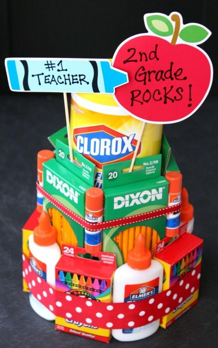 Teacher gift cake of supplies