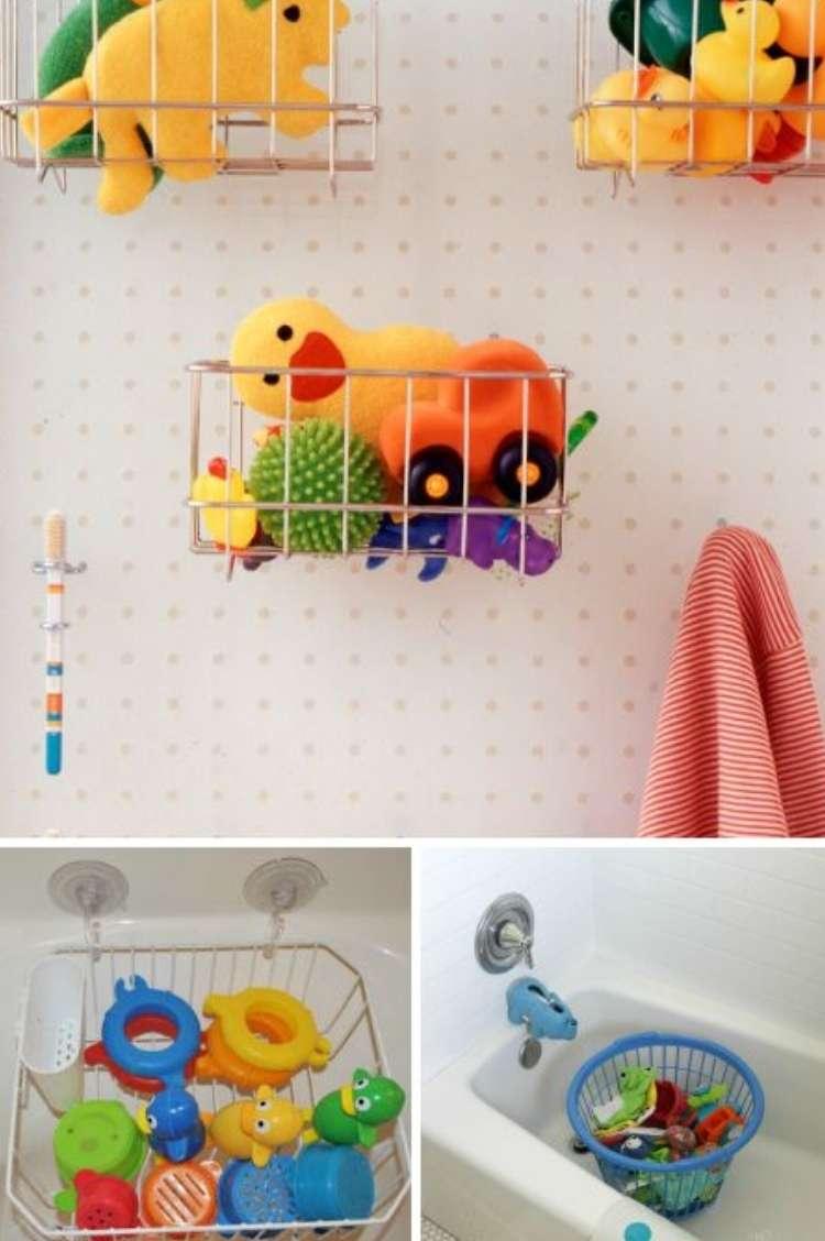 hanging baskets holding bath toys