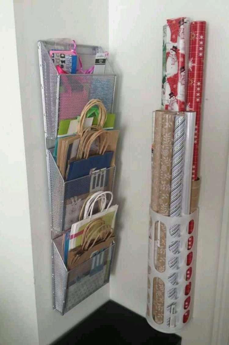 gift wrap and gift bag storage