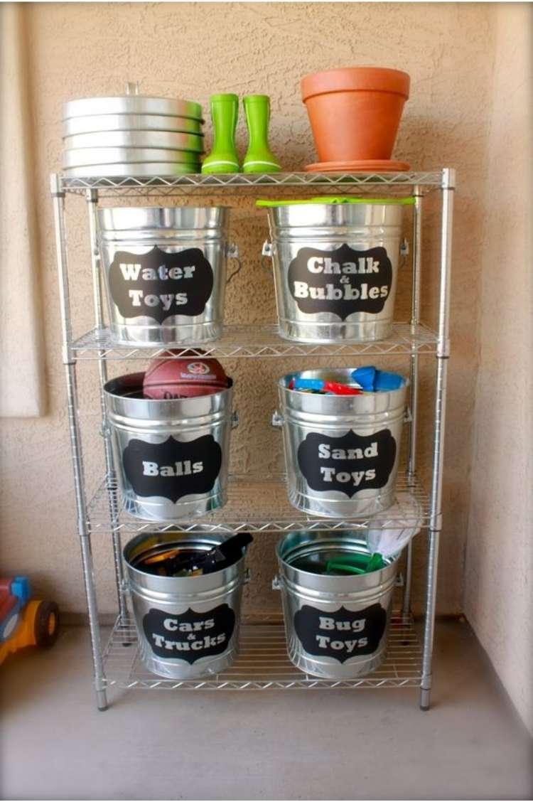 buckets on shelves