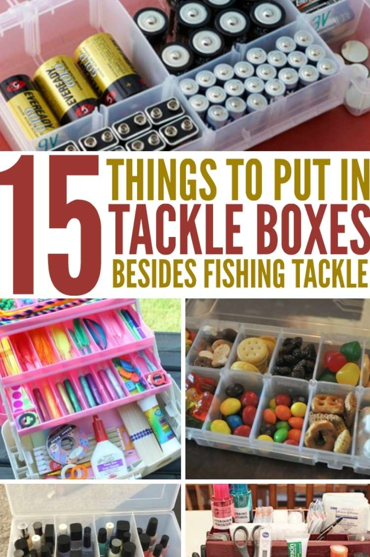 collage image of different tackle boxes