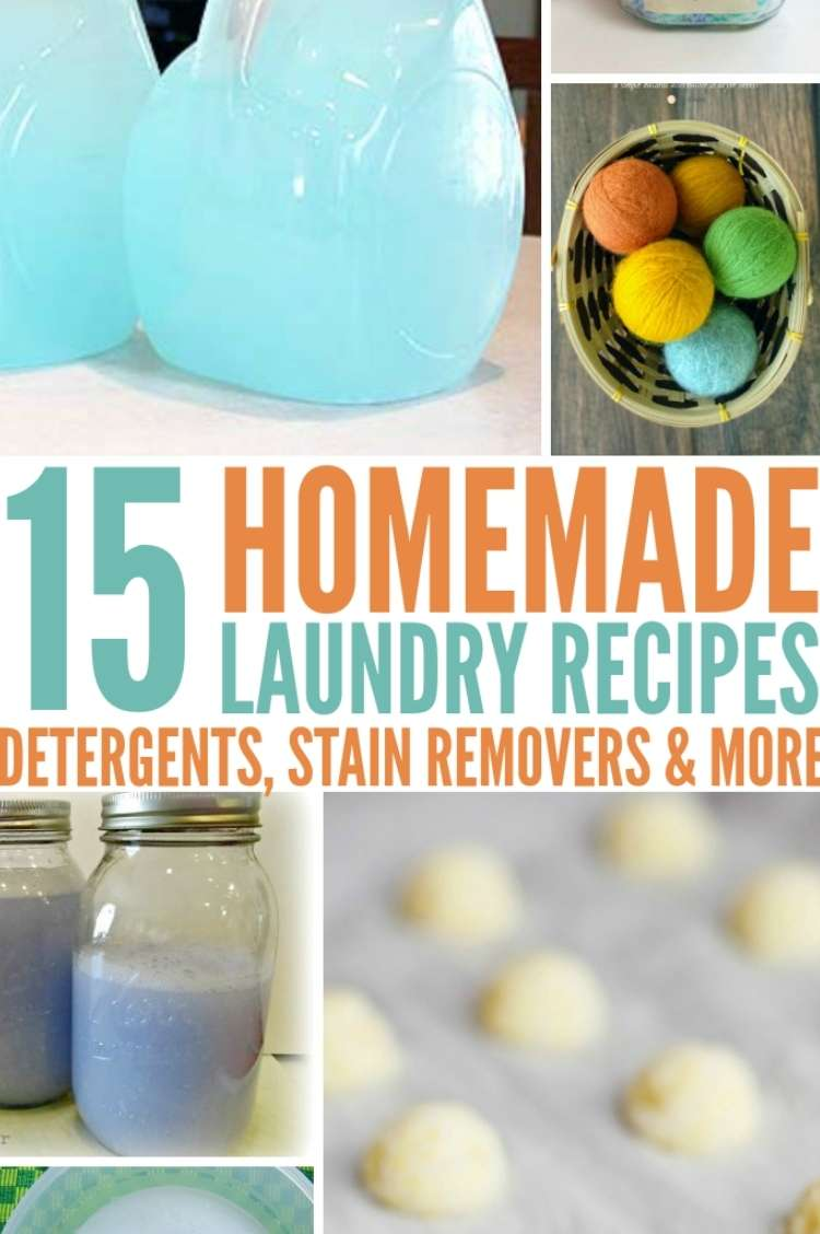 collage of laundry soaps for laundry recipes