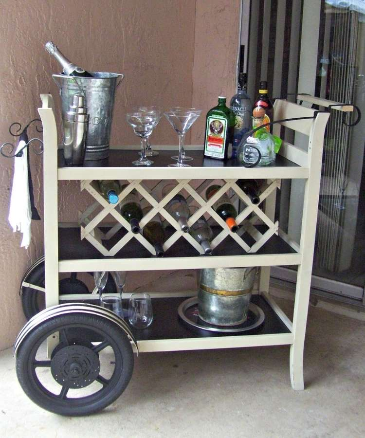 Repurposed changing tables into refined wine card bar