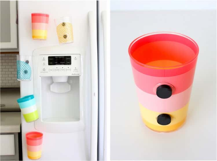attach magnets on your high-use cups and stick them to the fridge for easy access