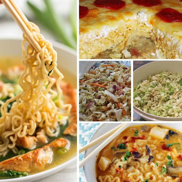 A collage of delicious ramen noodles recipes- a bowl of turkey ramen noodles, Ramen Pepperoni Pizza, Vegan Thai Pumpkin Ramen Soup, and Summer Salad Ramen Noodles