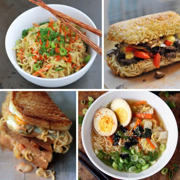 More exciting ramen noodles recipes! A collage of Japanese Miso Ramen Noodles, a Ramen Hoagie Roll, Ramen Grilled Cheese Sandwich and Broccoli Peanut Butter Ramen. Yum!