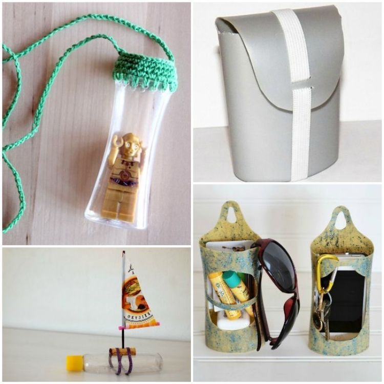 Upcycle old shampoo bottles collage with bottle crocheted necklaces, travel soap container, custom caddy and fun toy boat