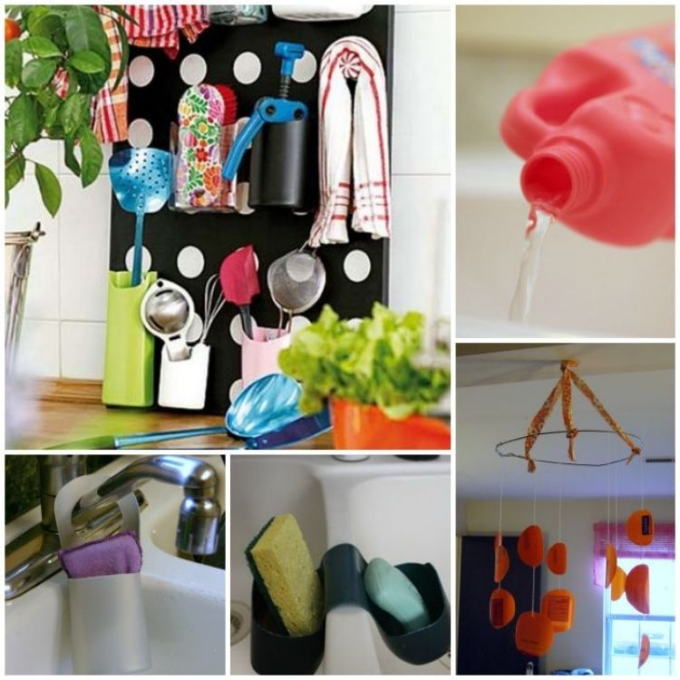 Collage of unique way to transform soap and shampoo bottles into useful things like tool holders, soap caddies and even a mobile.