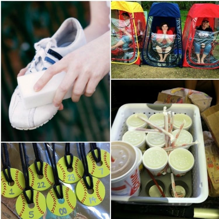 Collage of images including cleaning shoe, muffin hack, baseball medals and moms rain protection