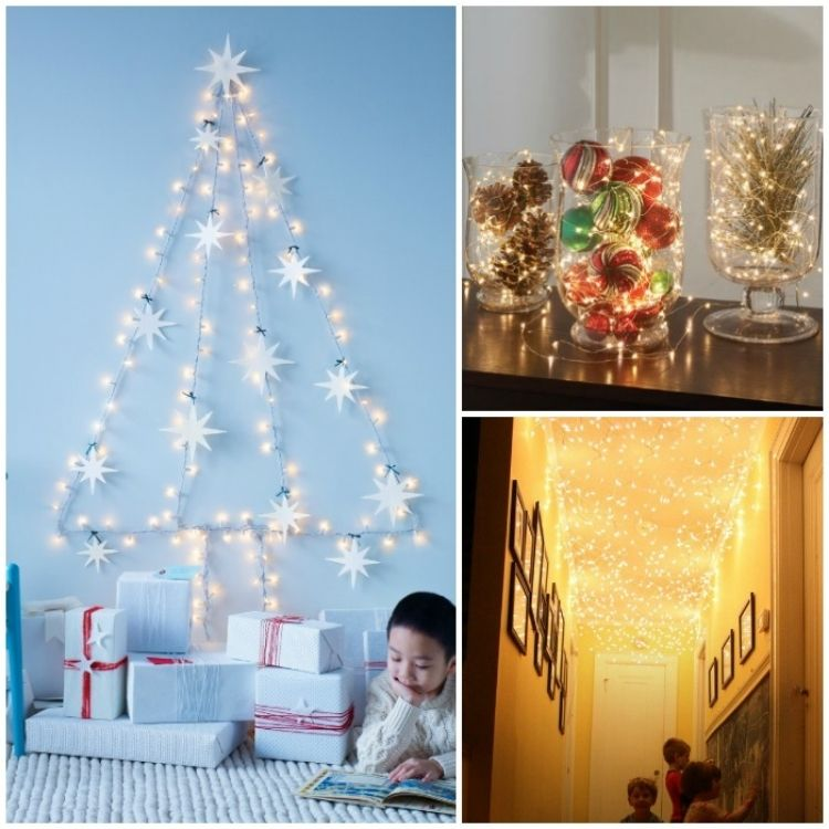 collage of indoor Christmas lighting decorations