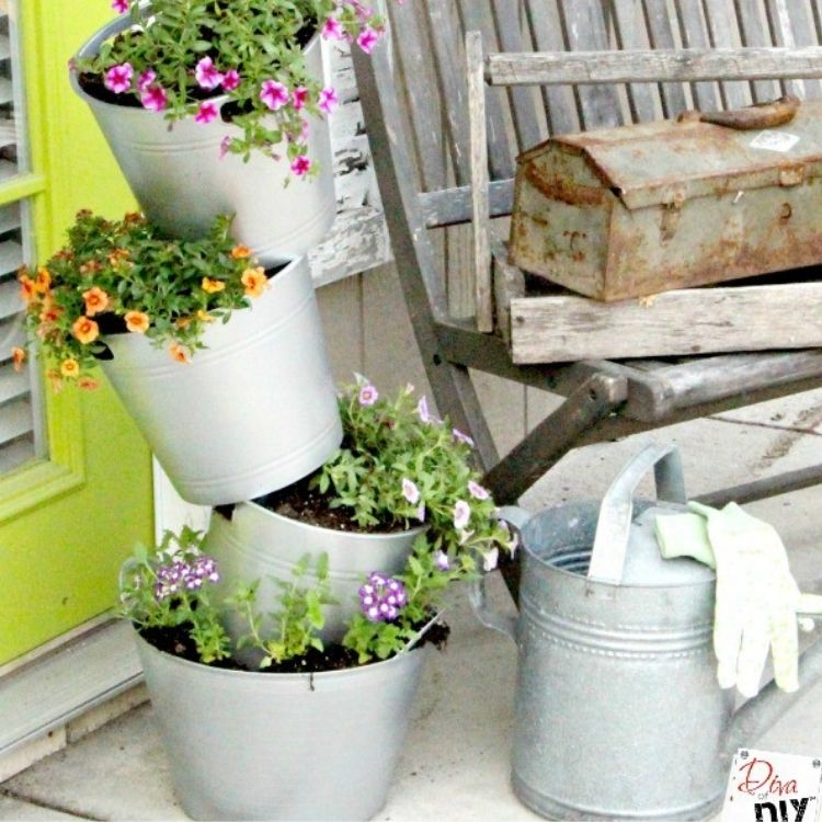 Stacking Faux Galvanized Flower Pots
