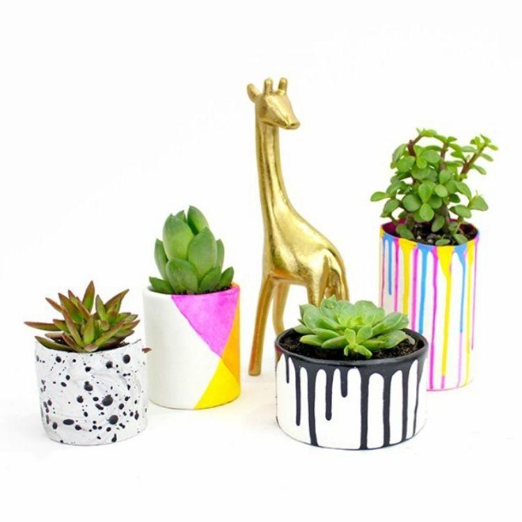 Drip paint planters