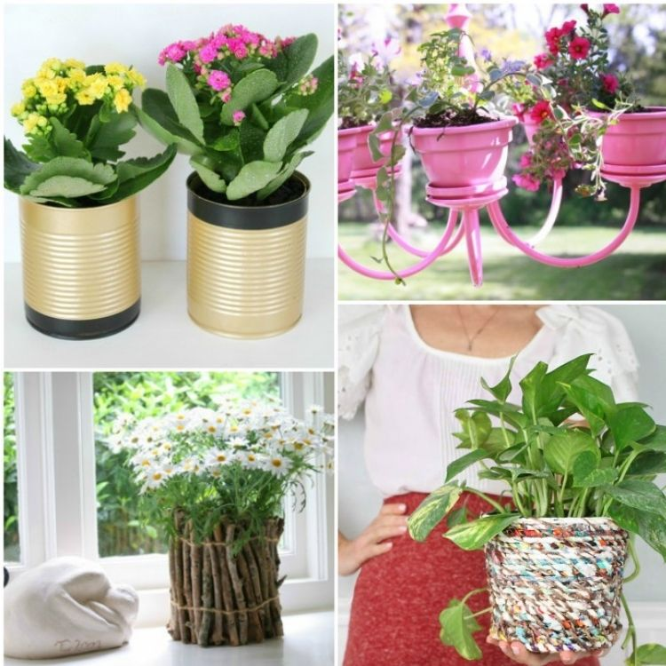 collage of flower pots, gold, twig, fabric and chandelier