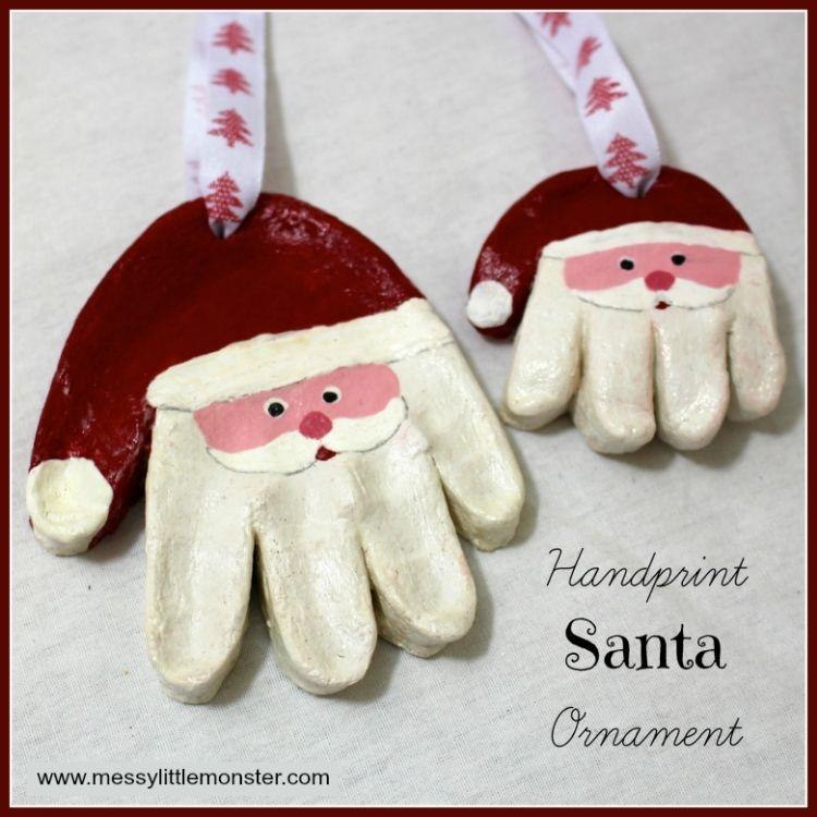 handprint santa ornament