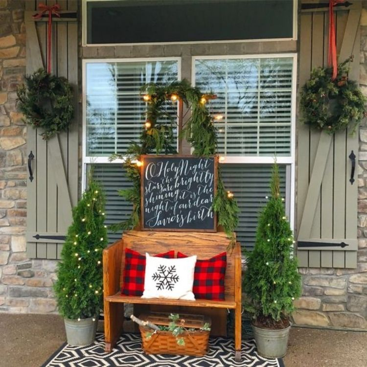 front porch bench display