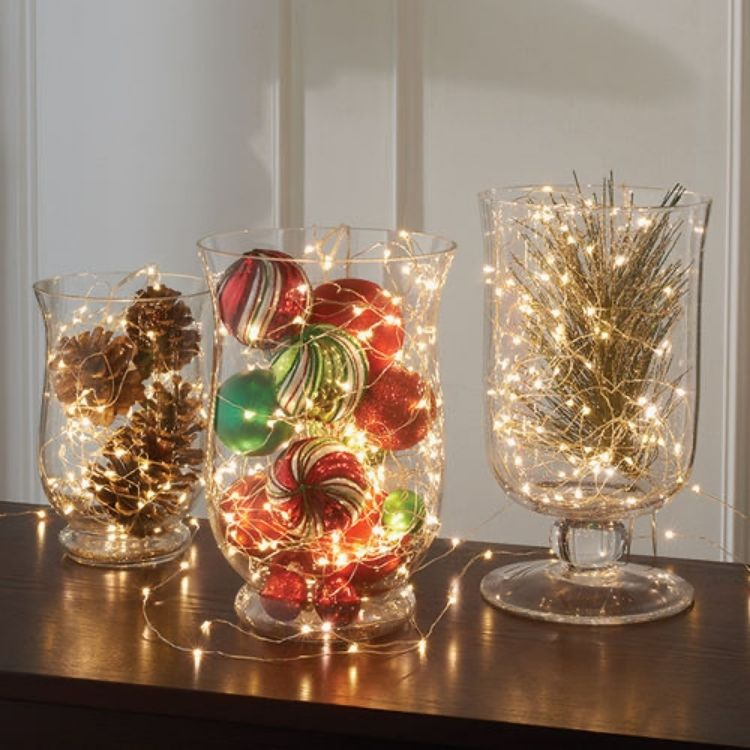Lights in vases with ornaments
