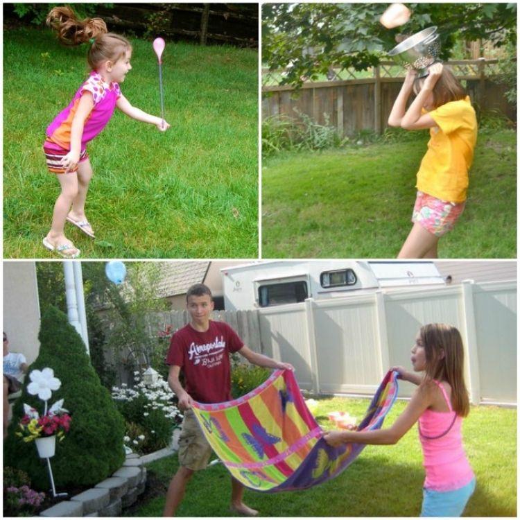 Girl with yoyo water balloon, girl catching water balloon with colander on her head, kids catching water balloon with a towel