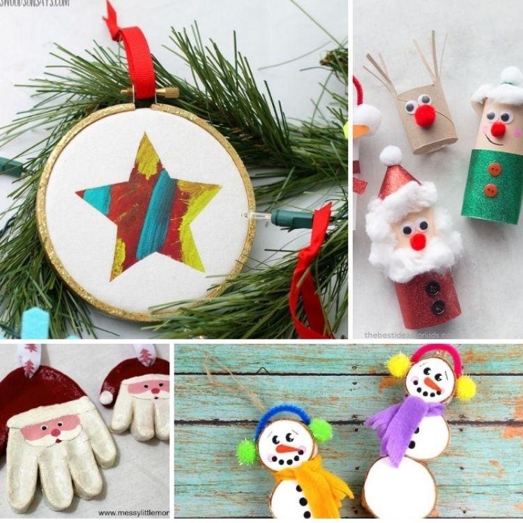 ornaments selection-star fabric hoop , santa glove, santa and elf toilet paper roll.