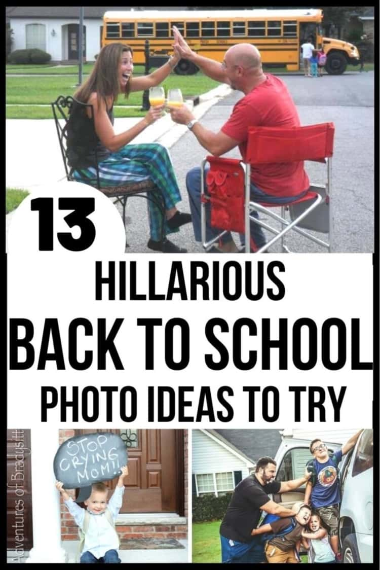 3-photo collage of 13 HILARIOUS BACK TO SCHOOL PHOTO IDEAS TO TRY