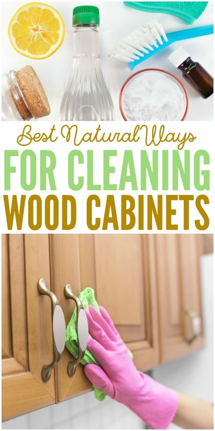 2-photo collage of Best Natural Ways For Cleaning Wood Cabinets - assorted cleaning items such as brush, rag, piece of lemon, bottle of essential oil, bottle of a clear liquid, and a gloved hand wiping cabinets with rag.