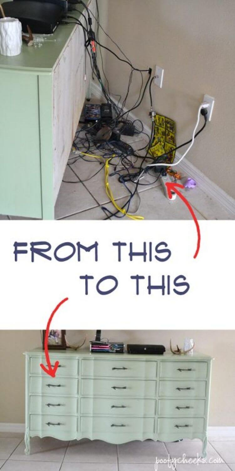 Before and after photo of cords organized behind an entertainment center