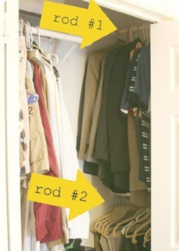 extra rods give your small closets more space to organize and keep tidy. A great idea for tiny closets.