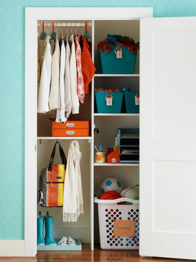 Create zones for different items in your closet