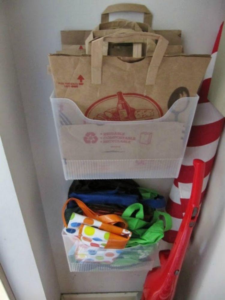 Hang file boxes to organize reusable shopping bags