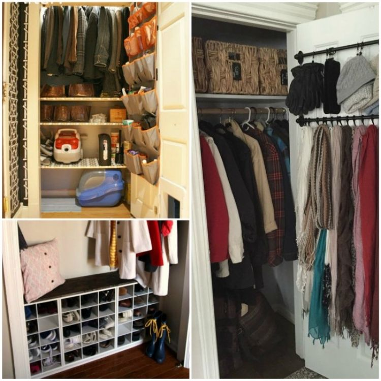 coat closet organization ideas - collage of coat closet with shoe organizer, closet with shoe cubbies, closet with hooks for scarves