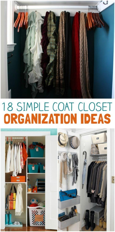 coat closet organization hacks - collage of coat closet with hangers, closet with shelving space, coat closet with maximized storage