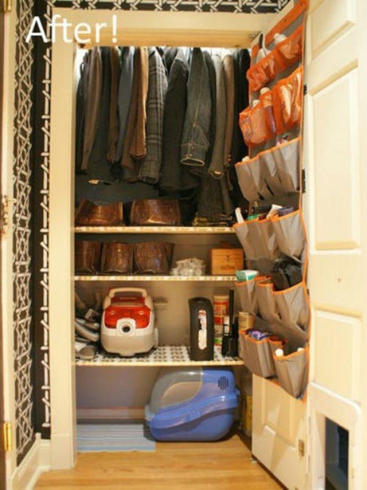 Coat Closet Organization Ideas - Use shoe organizer and additional shelves to maximize space