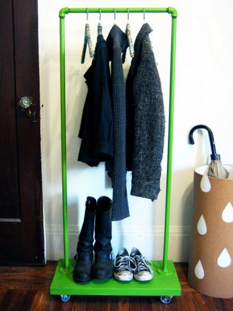 Use rolling cart to organize your coat and accessories if you have no coat closet