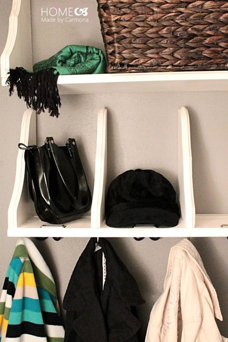 Coat Closet Organization Ideas - Flip shelves with brackets upside down and use as purse cubbies
