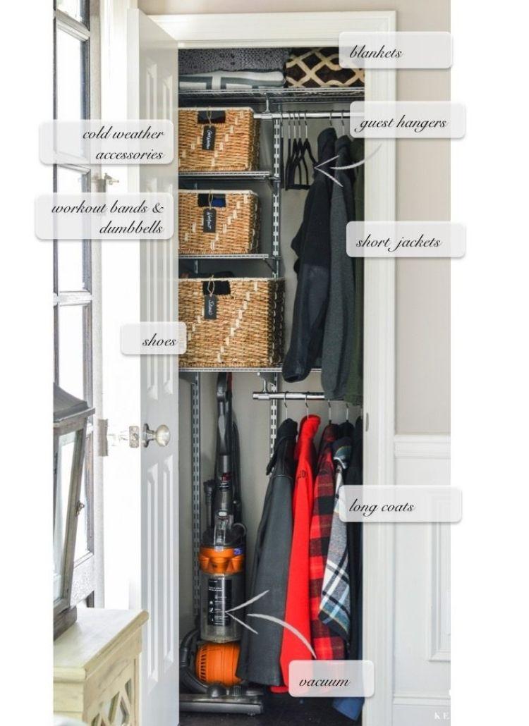 Coat Closet Organization Ideas - change shelving unit to maximize space