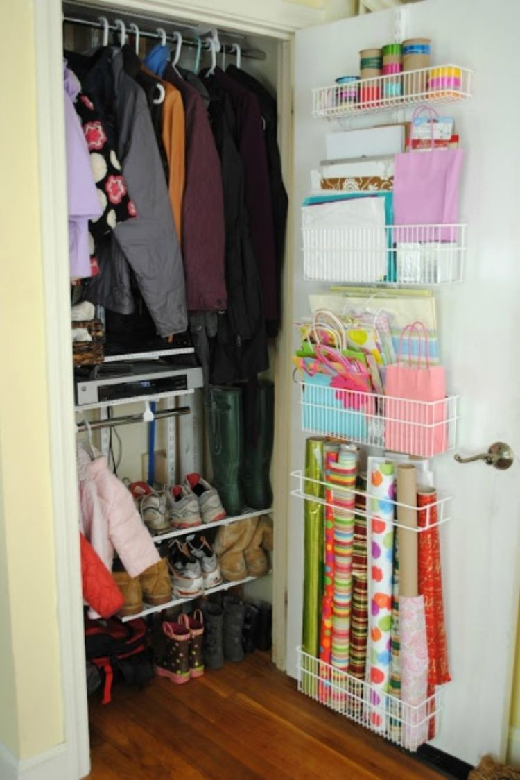 Coat Closet Organization Ideas - Add wire racks to organize gift wrappers