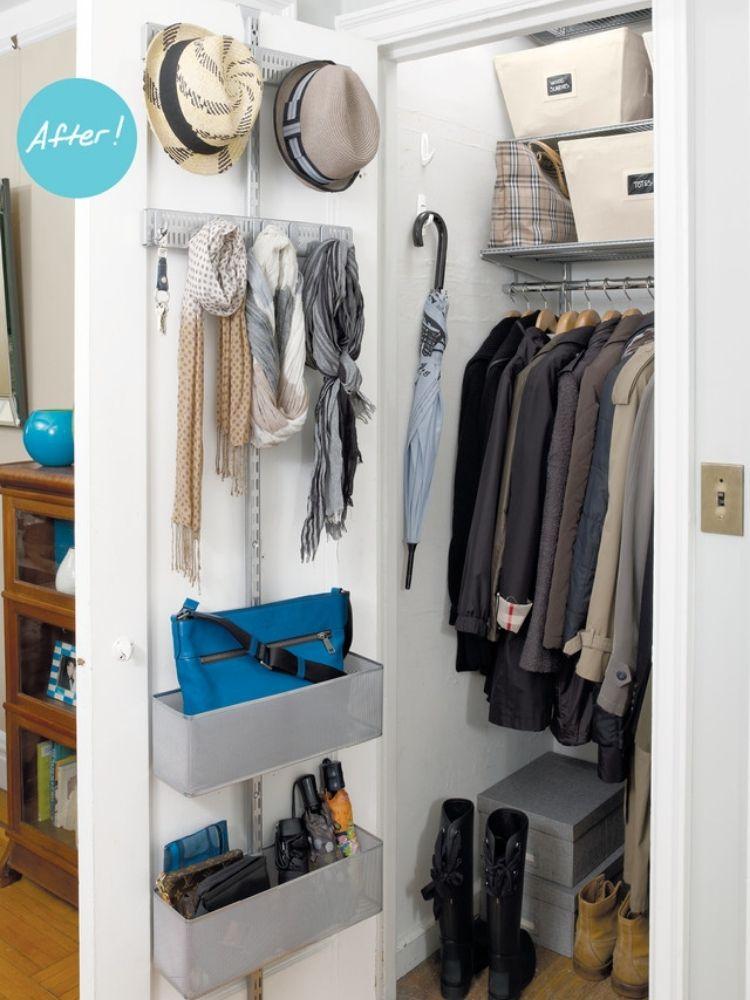 Coat Closet Organization Ideas - Add command hooks for umbrellas