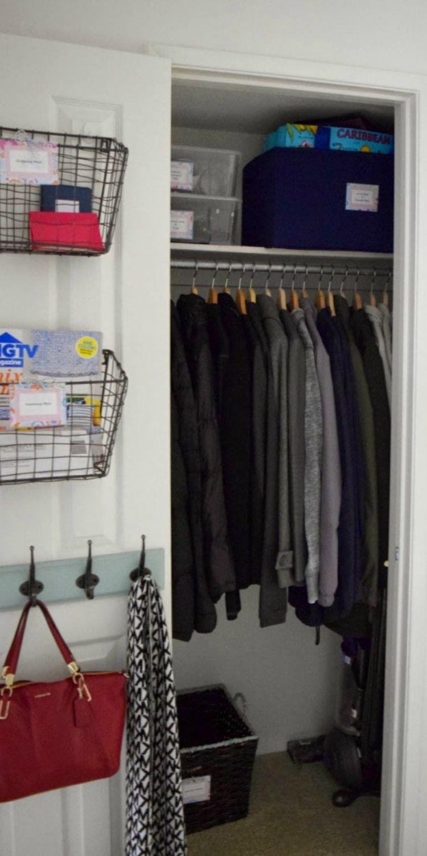 Coat Closet Organization Ideas - Add purse hooks and wire baskets