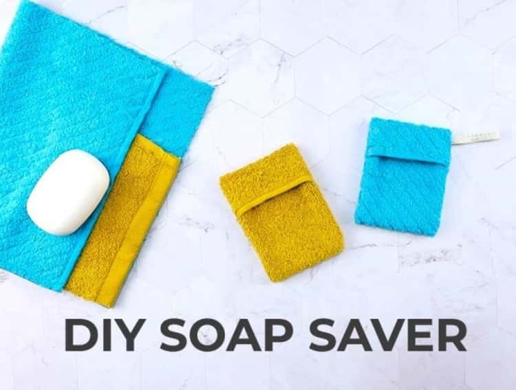 DIY soap pouch/soap saver made from wash cloth for travel
