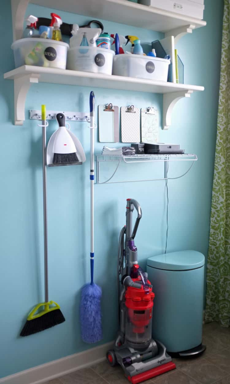 DIY shelves to organize your cleaning supplies