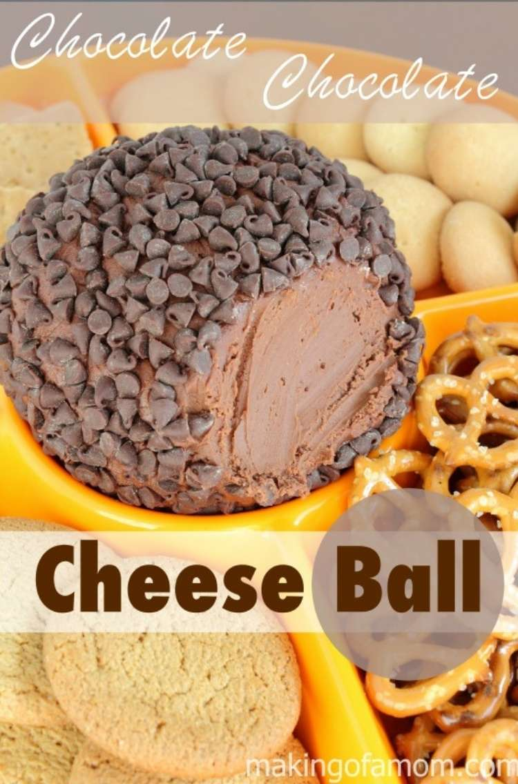 Double chocolate dessert cheeseball in a bright yellow bowl with chocolates shavings on top