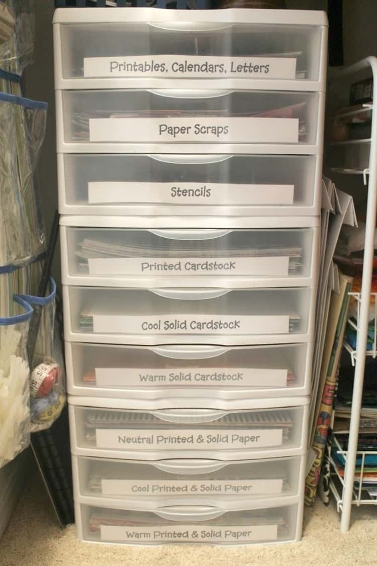 A set of vertical plastic drawers with white labels on the front for scrapbooking items