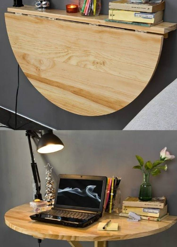 This drop leaf table makes the perfect fold up desk for small spaces. What a cool idea for a studio.