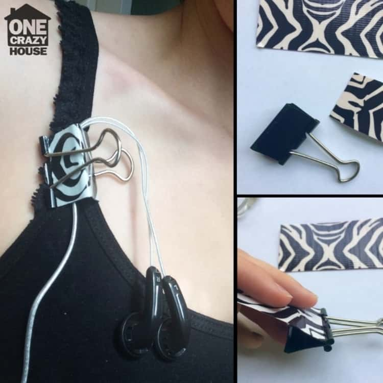 Decorate a clip and use it to secure your earbuds