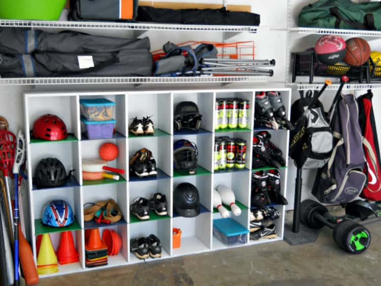 Garage cubbies can organize a lot of sports equipment