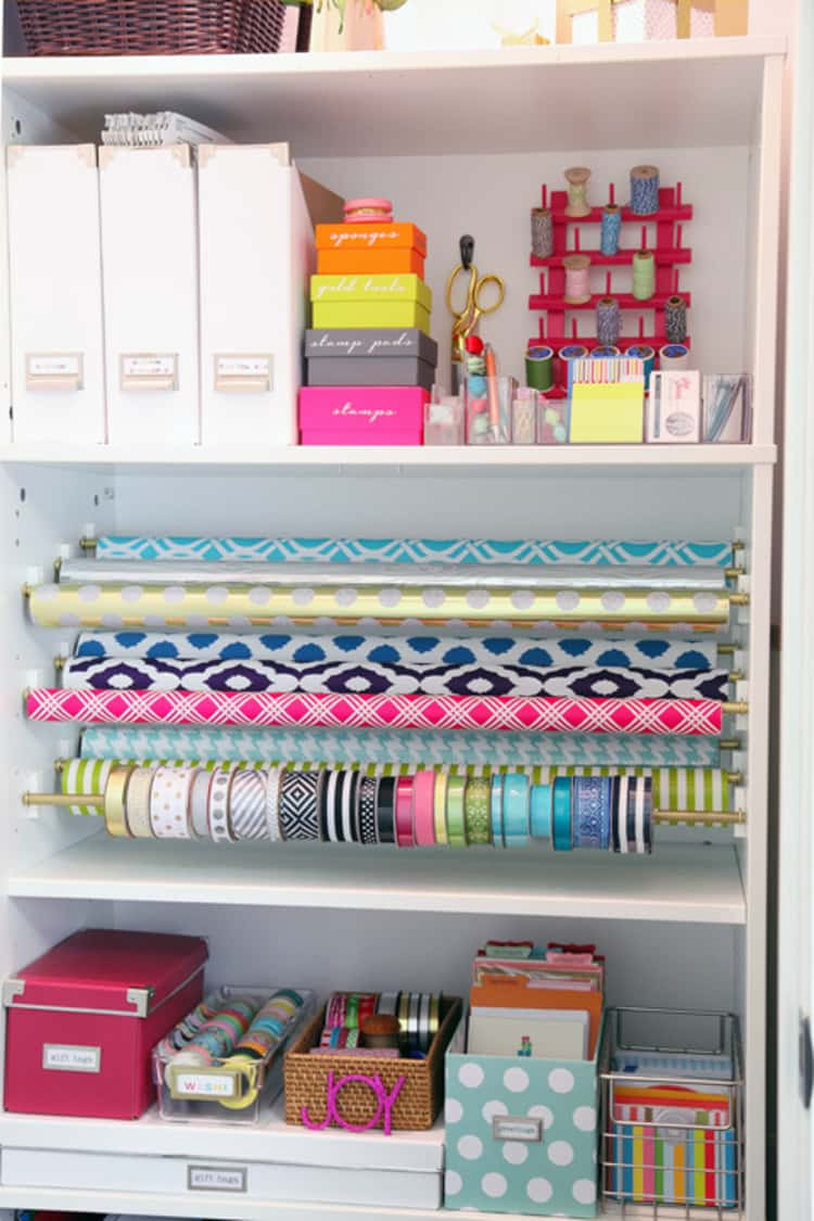 Gift Wrap Storage Station with shelves for wrapping paper, tape, scissors, storage boxes and bins