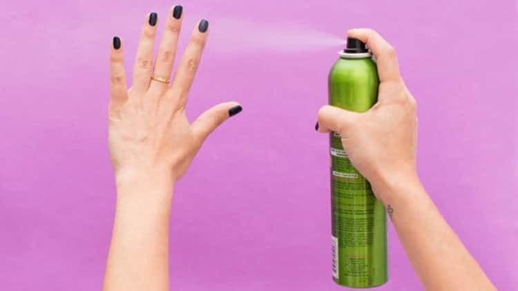 Hairspray hack for nail polish to dry faster