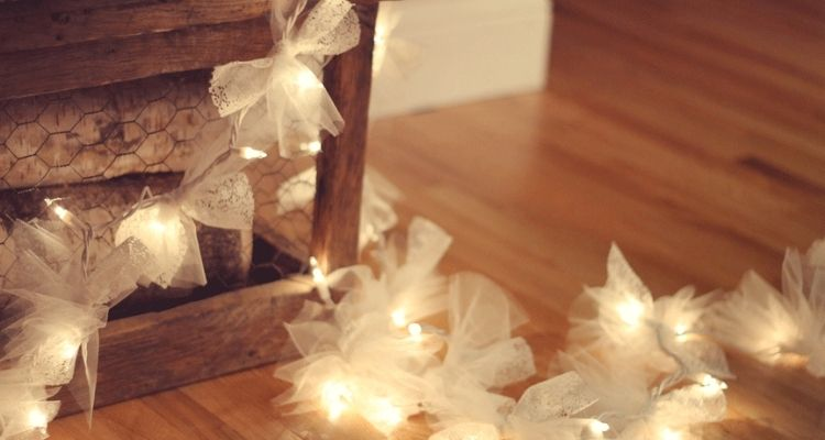 String lights with tulle